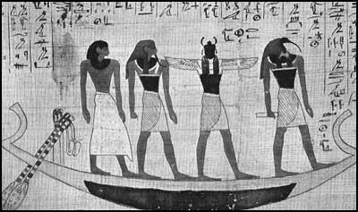 La barque des morts égyptienne